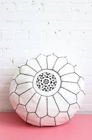 pouf moroccan ottoman footstool white leather baba souk boho decor