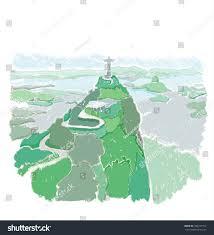 Rio On World Map Rio De Janeiro Brazil Christ Redeemer Stock Illustration 454727752