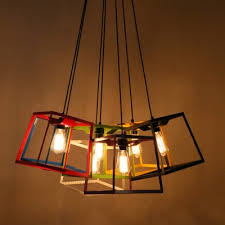 Wrought Iron Mini Pendant Lights Chic And Colorful Wrought Iron Cube Cage 9 8 Wide Designer Mini