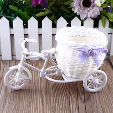 bicycle decorations home 2017 sale new plastic white tricycle bike design flower basket