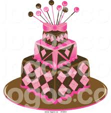 royalty free vector of a funky pink and brown square cake logo by
