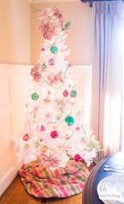 vintage white tree with shiny brite ornaments atta