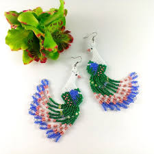 peacock earrings for peacock earrings bird earrings beaded by galiga on zibbet
