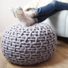 grey knitted pouf footstool grey chunky knit pouffe within knit