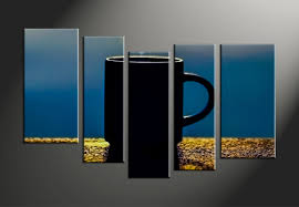 5 piece yellow canvas modern cup abstract artwork