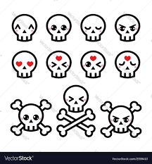 cute halloween images kawaii cute halloween skull icons set royalty free vector