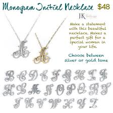monogram initials necklace monogram initial necklace jk by thirty one gifts