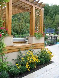 Backyard Planter Box Ideas by By Incorporating Planter Boxes Into This Pergola It Helps Soften