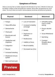 symptoms of stress worksheet therapist aid