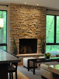 stone fireplaces floor to ceiling living room with venetian