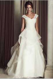 modest lace and organza a line v neck open back white wedding