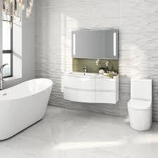 Modern White Vanity Unit Curved Bathroom Furniture Sink Basin Wall - Designer vanity units for bathroom