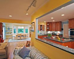 exciting galley kitchen remodel ideas with alluring yellow wall