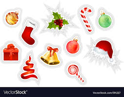 christmas stickers christmas stickers royalty free vector image vectorstock