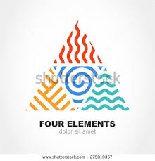 four elements simple line symbol pyramid stock vector 275819357