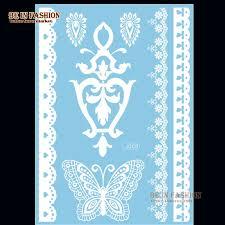 1sheet indian black white henna sticker lace choker