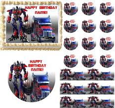 optimus prime cake topper optimus prime optimus truck edible cake topper image frosting sheet