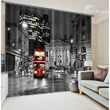 Window Curtains On Sale 3d Night City Bus Printed Polyester Modern Style Decoration Custom