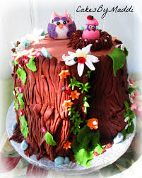 mama amp baby owl for a nature themed baby shower cake stump with