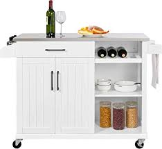 kitchen storage cabinet cart yaheetech kitchen cart with stainless steel top kitchen island on wheels with drawer and cabinet open shelves and spice rack towel rack white