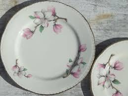 homer laughlin vintage homer laughlin china plates pink magnolia branch floral pattern