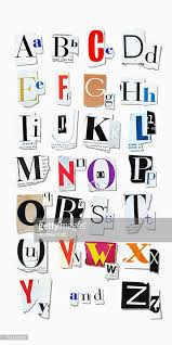 letters of the alphabet cut out of magazine pages stock photo
