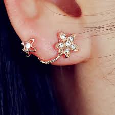 sided stud earrings aliexpress buy 17km brand new gold color flower