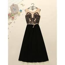 sash ribbon a line princess evening dresses black sleeveless with belt