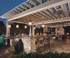 stone outdoor kitchen with white pergola 6004 home decorating