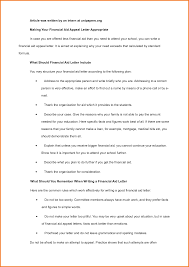 financial aid appeal letter sample financial statement form