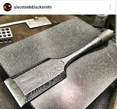 japanese damascus steel chisel made by alec steele for the samurai