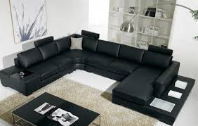 Sectional Sofas Modern Black Bonded Leather Sectional Sofa With Light Modern Living