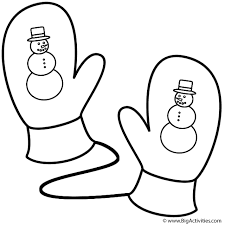 mittens snowman coloring christmas
