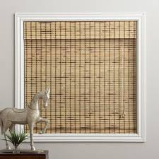 Roman Shades Over Wood Blinds Arlo Blinds Rustique Bamboo Roman Shade With 74 Inch Height Free