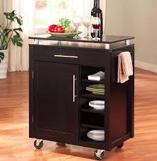 Black Kitchen Island Black Kitchen Carts On Wheels Steel Kitchen Islands Wheels Design