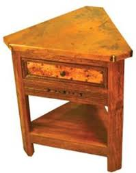 wedge shaped end table copper corner end table triangular rustic old world tuscan