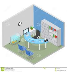 hospital doctor desk room interior flat 3d isometric vector stock