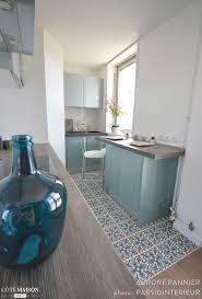 cuisine cote maison une cuisine bleu iceberg fraîche et rétro aurore pannier côté