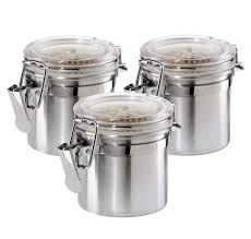 Stainless Steel Canisters Kitchen Amazon Com Oggi 3 Piece Mini Stainless Steel Canister Set With