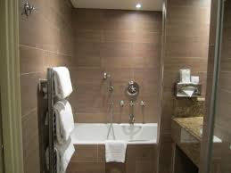 Backsplash Bathroom Ideas by Contemporary Narrow Bathroom Ideas With Brown Tile Backsplash And
