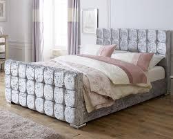Velvet Sleigh Bed Catherine Lansfield Gatsby Silver Sleigh Bed Aspirestore Co Uk