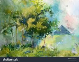 house forest glade watercolor stock illustration 117884035