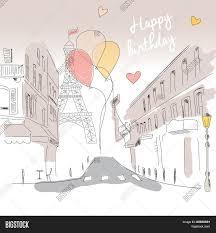 happy birthday card paris street vector u0026 photo bigstock