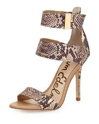 lyst sam edelman addie snake print ankle wrap sandal