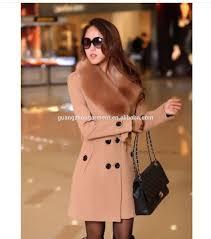 2014 hot european style women s wool faux fur trench parka double