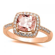 Pink Round Cushion Vintage Halo Solitaire Accent Wedding Engagement Ring Rose Gold On