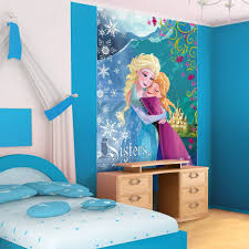 kids room beauty disney princess wall decal with white lacquered blue disney frozen wall mural tan wooden laminate flooring beige solid wood side table with drawer