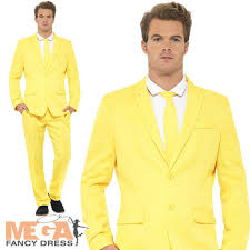 the mask costume yellow suit mens fancy dress stag party the mask jim carrey adults