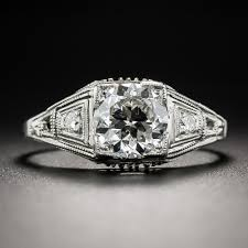 deco engagement ring 1 24 carat diamond deco engagement ring certified by katz