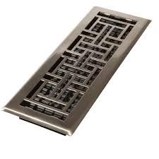 decor grates 4 in x 14 in steel brushed nickel floor register